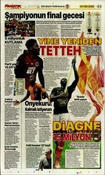 Galatasaray gazete manşetleri - 24 Mayıs