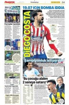 Fenerbahçe Manşetleri (19 Temmuz)