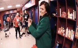 Kadın başkan R.Madrid zaferi sonrası şampanya ile çıldırdı!..