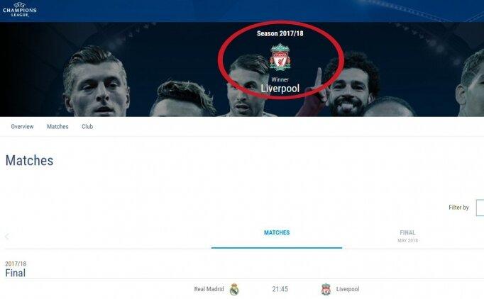 UEFA'dan skandal hata, Liverpool'u şampiyon ilan ettiler