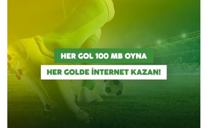 GollerCepte Her Gol 100 MB ile Her Golde internet kazan!